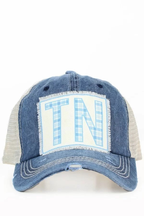 NAVY/CREAM TN PLAID TRUCKER HAT