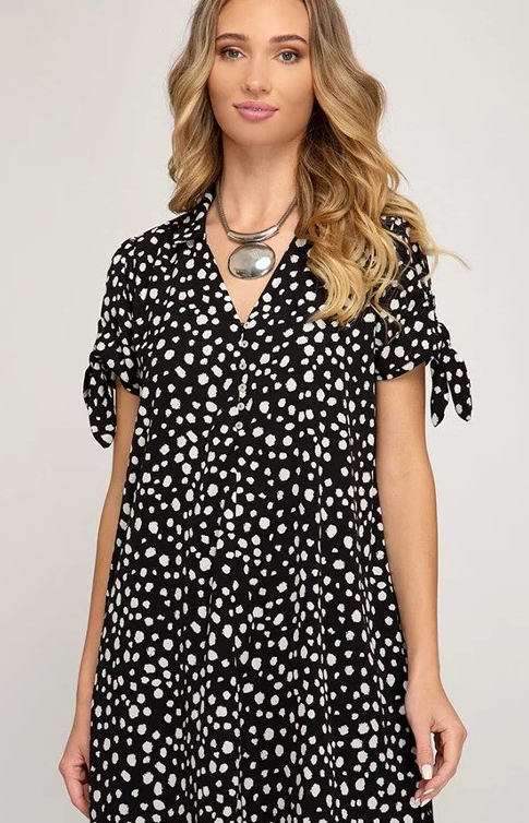 SHORT SLEEVE PRINT DRESS WITH COLLAR & SLEEVE TIES