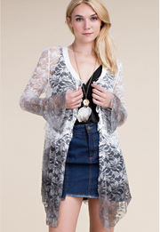 BRUSHED LACE CARDI WITH RUFFLE SLEEVE