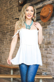 SOLID RUFFLE STRAP TOP WITH TEXTURED BODICE