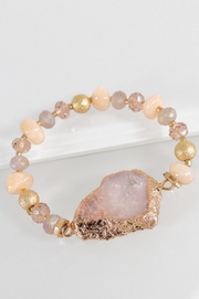 GLASS BEAD STRETCH BRACELET WITH PLATED NATURAL STONE ACCENT