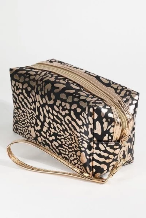 METALLIC LEOPARD PRINT ZIPPER MAKE UP BAG