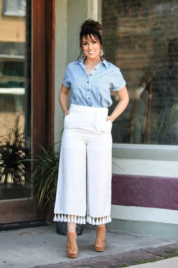 SOLID CROPPED PILAZZO PANTS WITH TASSELS WITH WAIST TIE