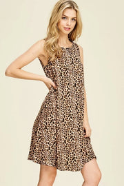 LEOPARD PRINT SLEEVELESS CRISS-CROSS BACK MIDI DRESS