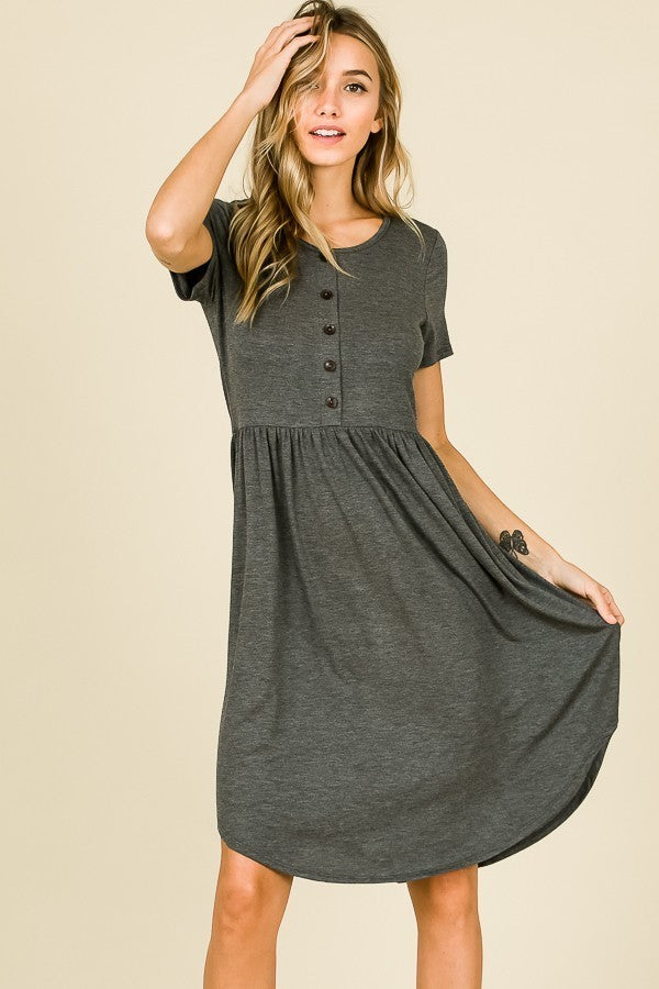 SHORT SLEEVE BUTTON DETAIL MIDI DRESS