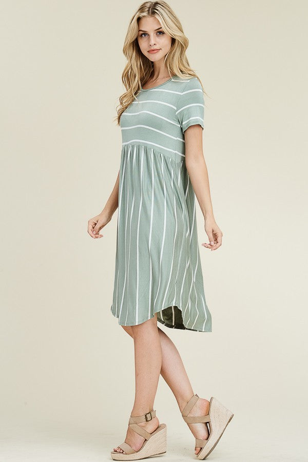 STRIPE PRINTED SHORT SLEEVE HIGH WAIST SWING DRESS