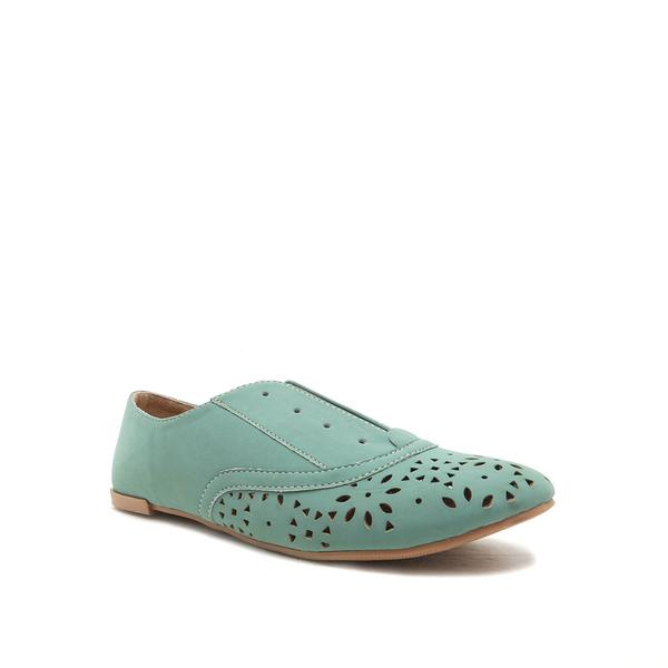SALYA SAGE PERFORATED ALMOND TOE FLATS