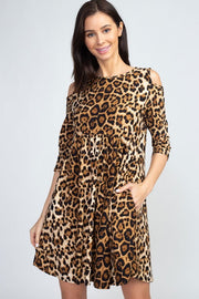 LEOPARD PRINT COLD SHOULDER KNIT DRESS
