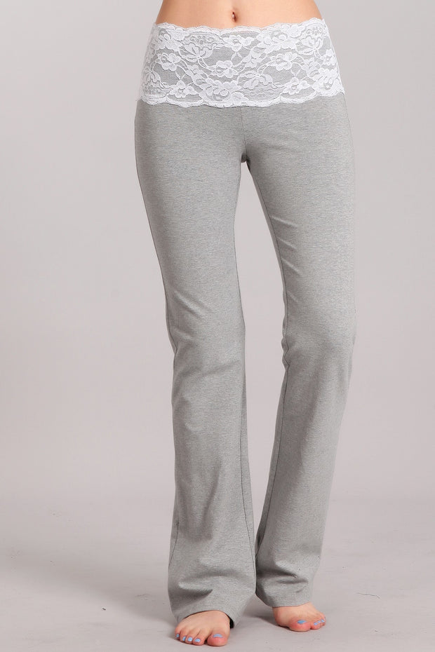 SOLID STRAIGHT FIT PANTS WITH LACE WAISTBAND