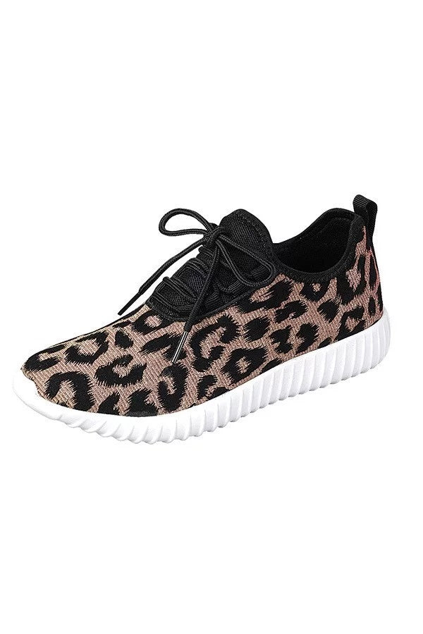 LACE-UP SPARKLING LEOPARD SNEAKERS