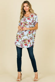 SHORT SLEEVE V-NECK CASUAL TUNIC WITH ROUND HEMLINE