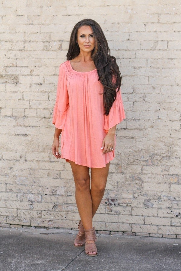 SOLID OFF SHOULDER DRESS WITH BELL SLEEVE & ELASTIC NECKLINE