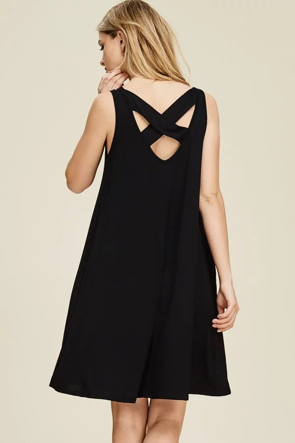 SLEEVELESS CRISS-CROSS BACK MIDI DRESS