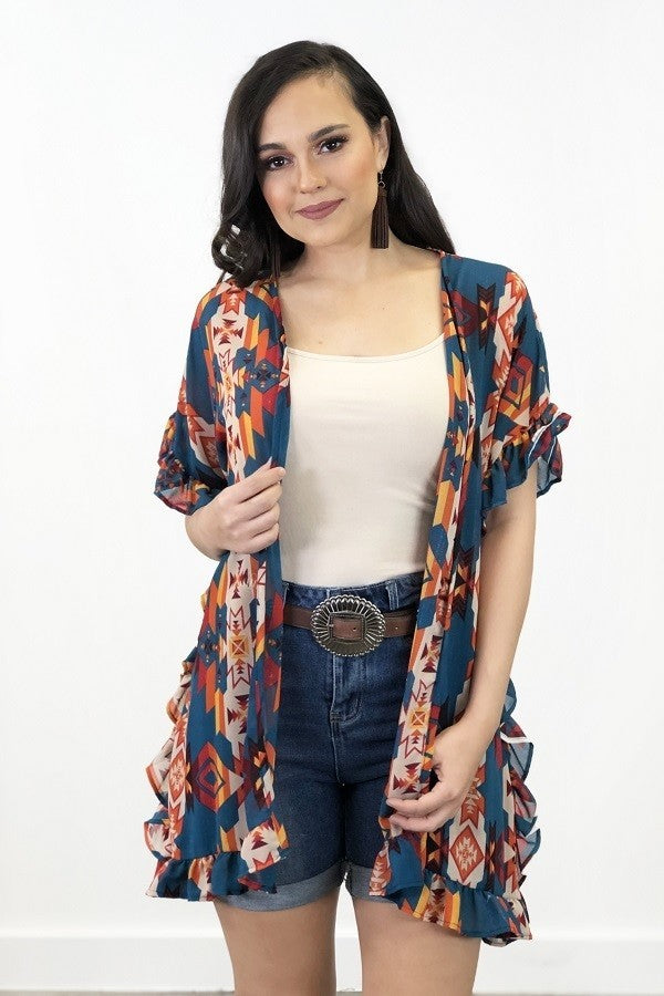 PRINTED SHORT SLEEVE KIMONO WITH RUFFLE DETAIL