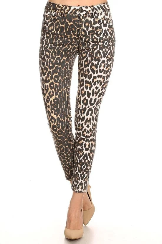 HIGH RISE LEOPARD PRINT PANTS