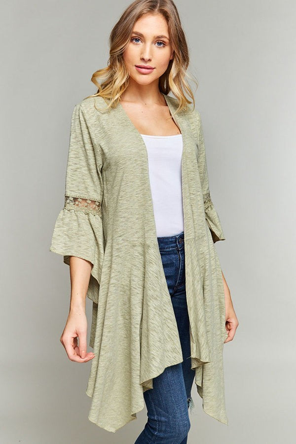 LACE TRIM ASYMMETRICAL HEM CARDIGAN