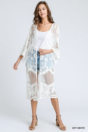 LACE CARDIGAN WITH SCALLOPED SLEEVES
