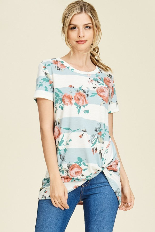 SHORT SLEEVE FRONT KNOT FLORAL & STRIPE MIX PRINT