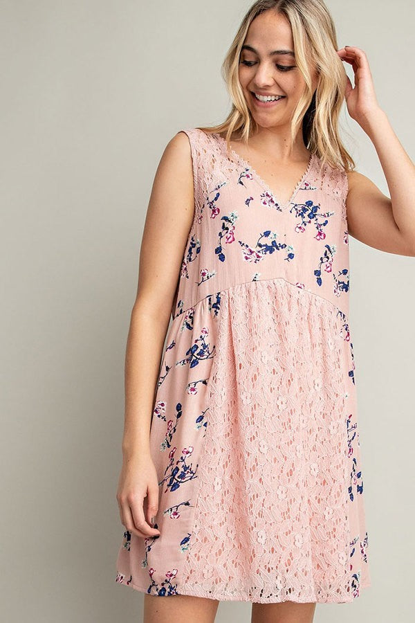 LACE TRIM FLORAL PRINT SLEEVELESS DRESS