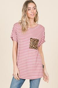 STRIPE SHORT SLEEVE TOP WITH LEOPARD POCKET