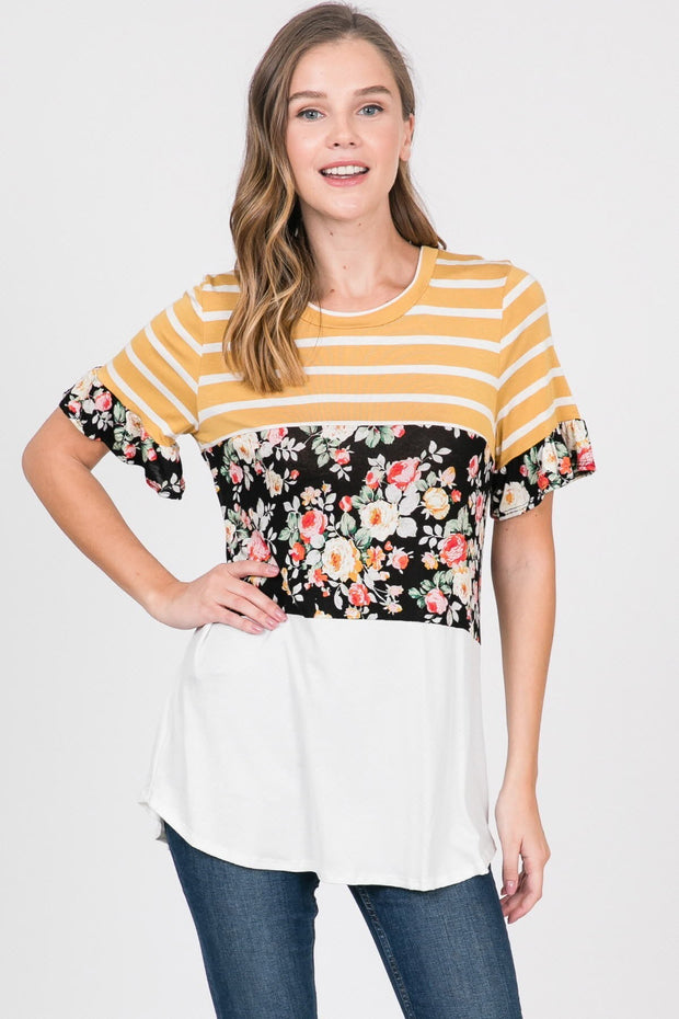 STRIPE & FLORAL COLOR BLOCK JERSEY KNIT TUNIC