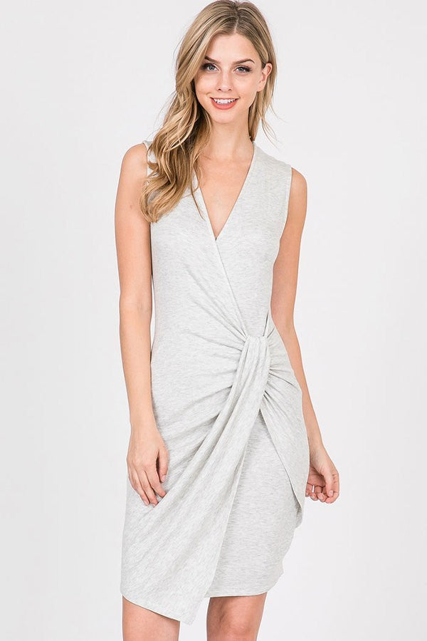 SOLID KNIT DRESS WITH KNOT DETAIL