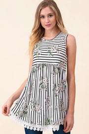 STRIPE & FLORAL PRINT SLEEVELESS BABY DOLL TOP WITH CROCHET HEM