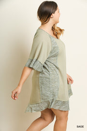 RIBBED KNIT DRESS WITH MARBLED RUFFLE TRIM
