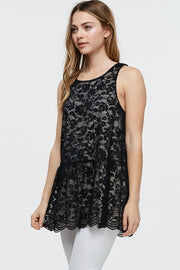 SLEEVELESS LACE DETAIL TUNIC