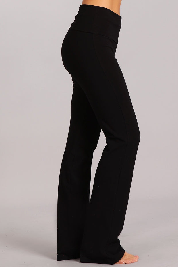 SOLID BOOTCUT PANTS WITH WIDE FOLD-OVER WAISTBAND