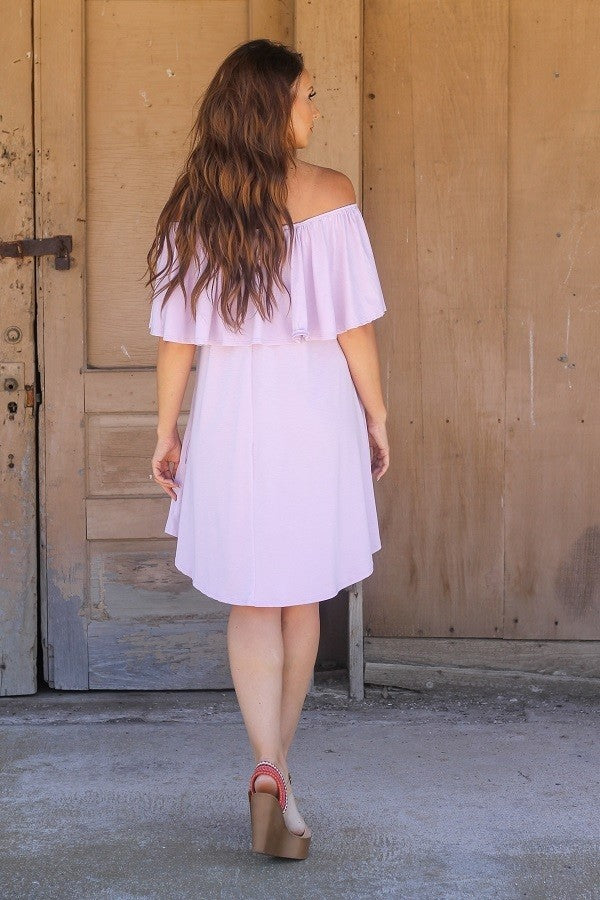 SOLID OFF SHOULDER DRESS WITH RUFFLE SLEEVE & ELASTIC NECKLINE