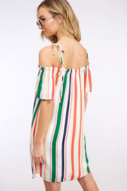 STRIPE OFF SHOULDER DRESS WITH TIE STRAPS & ELASTIC NECKLINE
