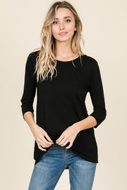 RELAXED FIT 3/4 SLEEVE TOP WITH POCKET