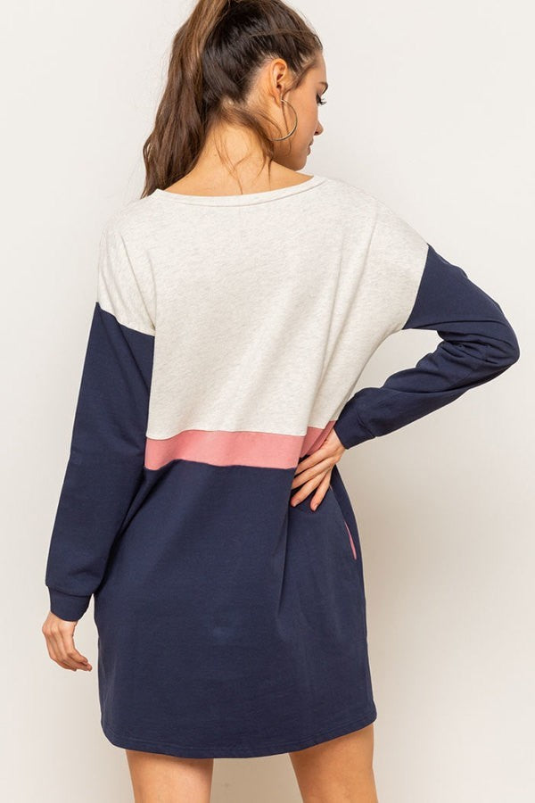 LONG SLEEVE COLOR BLOCK COTTON DRESS