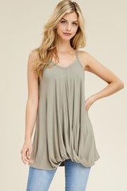 SLEEVELESS TOP WITH FRONT KNOT DETAIL