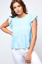 SOLID RUFFLE BABY DOLL TOP WITH BUTTON CLOSURE