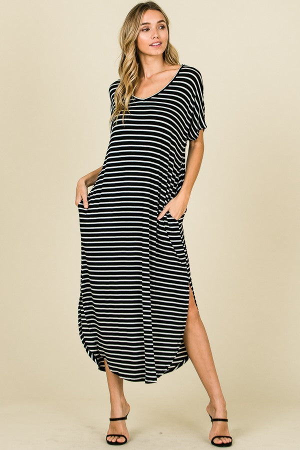 RELAXED STRIPE MAXI DRESS WITH POCKETS
