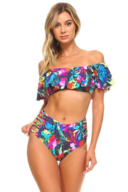 TROPICAL PRINT RUFFLE 2-PC BIKINI