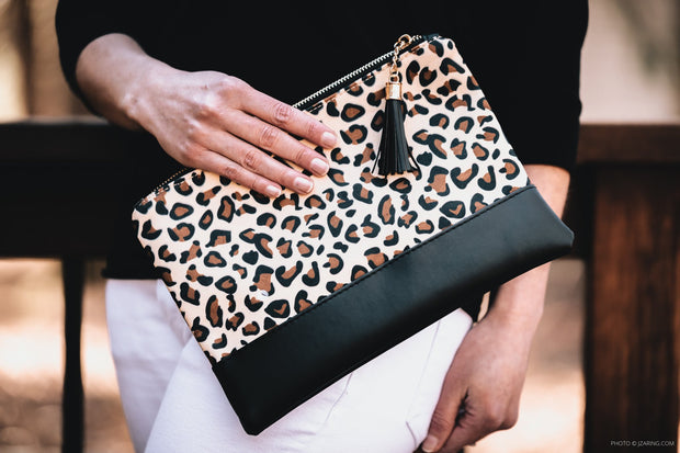 Leopard Print Clutch with Tassel Zip