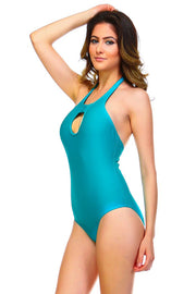 PEEK-A-BOO HALTER SWIMSUIT