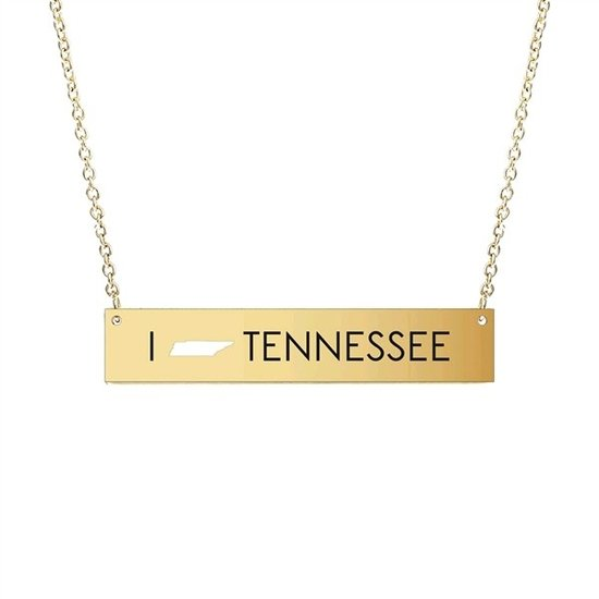 GOLD TENNESSEE BAR NECKLACE