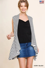STRIPE DRAPING JERSEY KNIT VEST