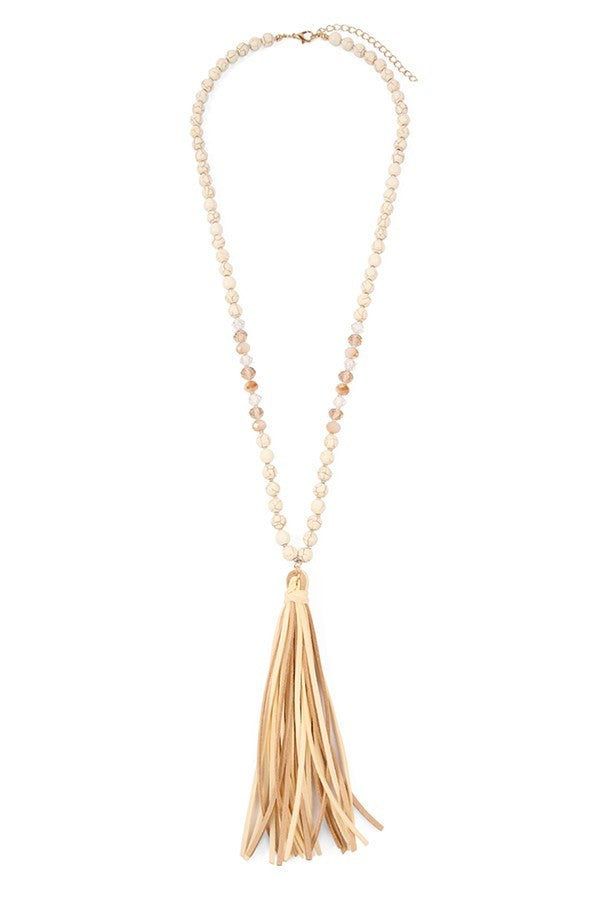 NATURAL STONE & GLASS TASSEL NECKALCE