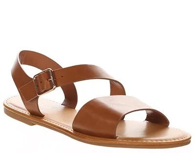 TWO TONE CROSS STRAP SANDALS