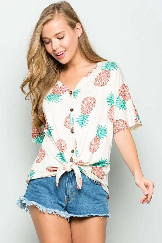 PINEAPPLE PRINT KNOT TOP WITH BUTTON DETAIL
