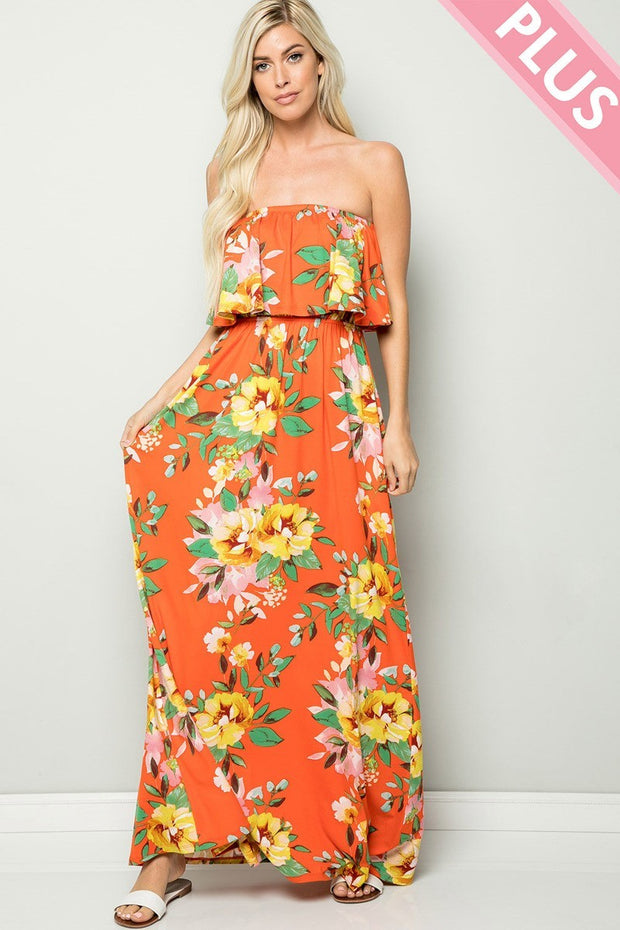 FLORAL STRAPLESS RUFFLE MAXI DRESS