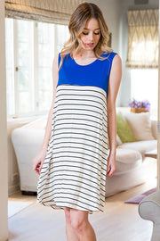STRIPE COLOR BLOCK DRESS WITH POCKETS