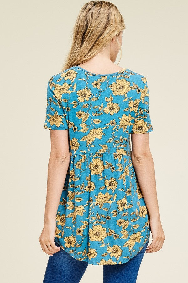 SHORT SLEEVE FLOWER PRINT PEPLUM TOP