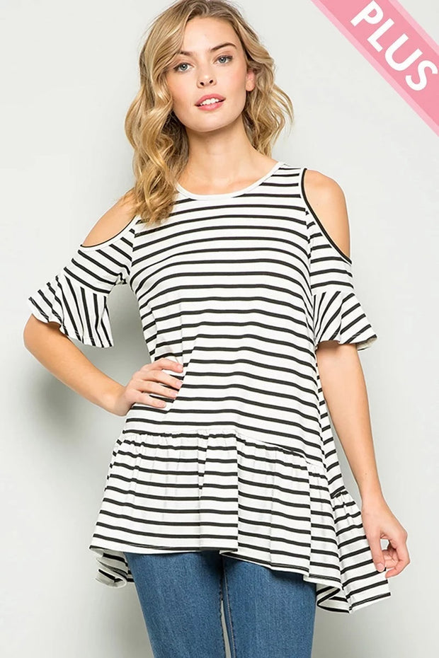 STRIPE COLD SHOULDER RUFFLE SLEEVE TUNIC