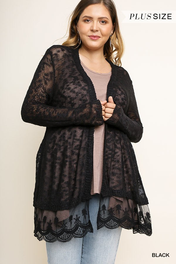 SHEER CARDIGAN WITH SCALLOPED LACE HEM